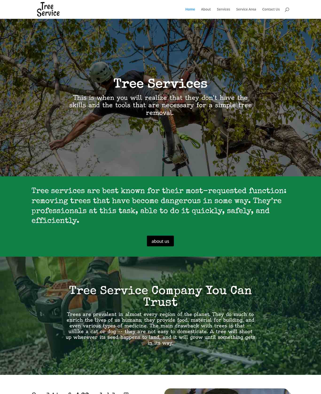 Excalibor Tree Service Websites Example
