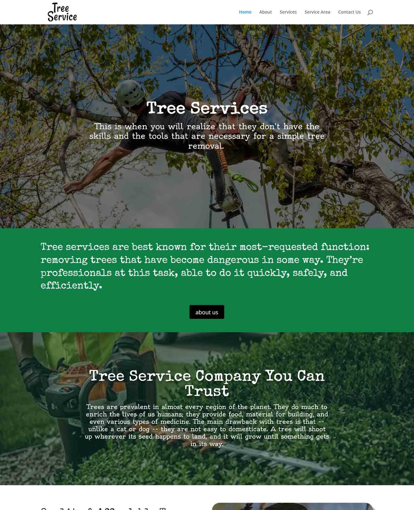 Excalibor Tree Service Websites Example