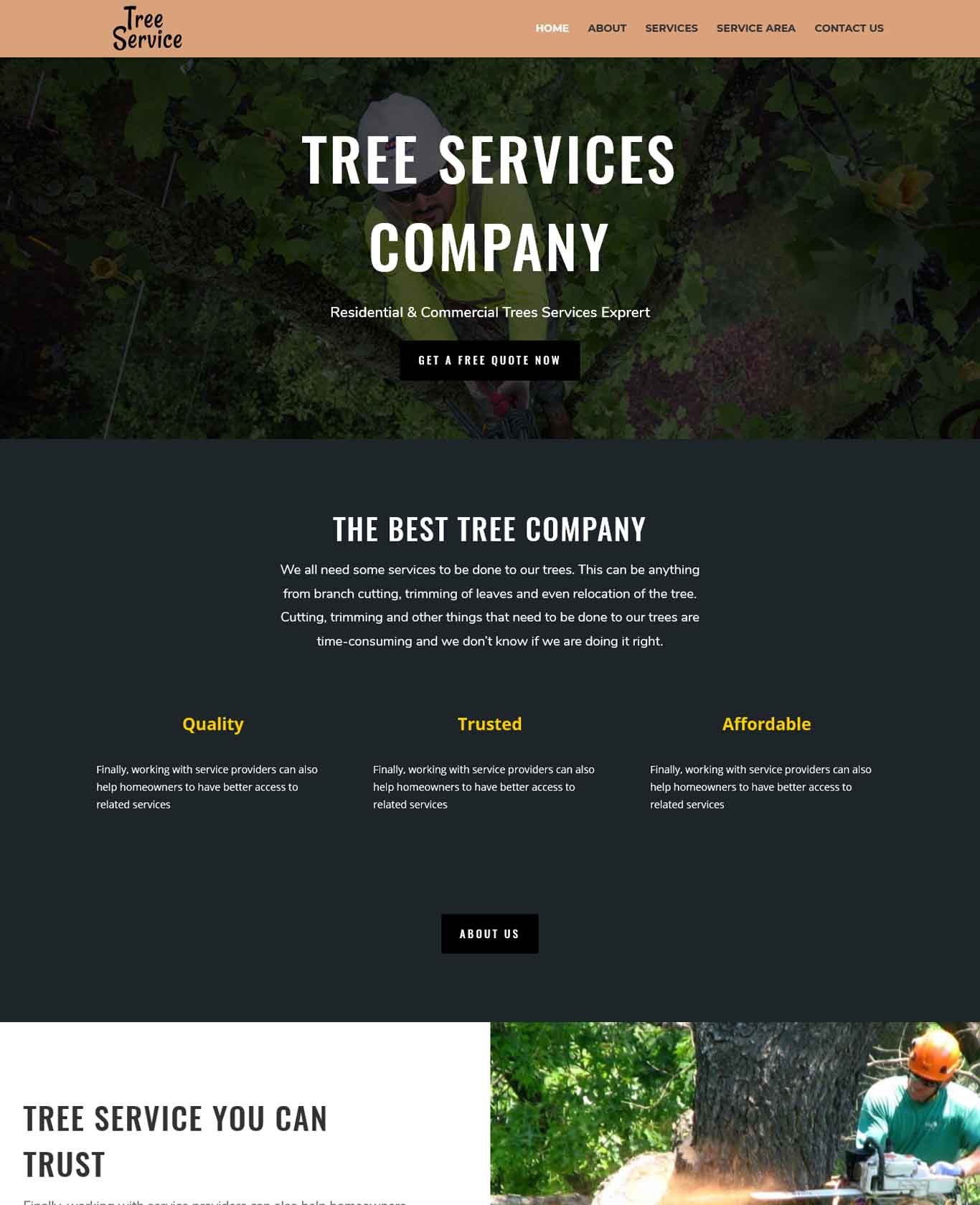 Tree Services Company Website Example